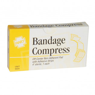 "The 4"" Bandage Compress, Off Center, Sterile, 1 per box"