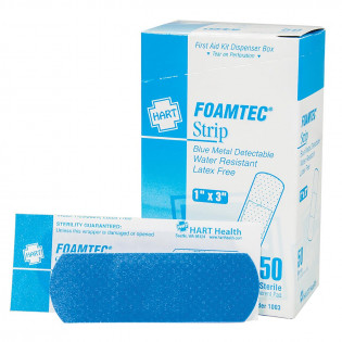 "The 1"" x 3"" Blue Foam Metal Detectable Adhesive Bandages - 50 per Box"