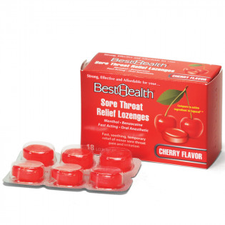 The Best Health Sore Throat Lozenges Cherry/Menthol, 18/Bx