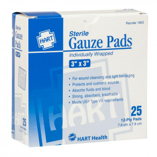 "The 3"" x 3"" Sterile Gauze Pads, 25/BX"