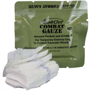 The QuikClot Combat Gauze, Z-Fold, Military
