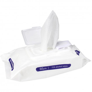 The Alcohol Wipes, Large, 75% Alcohol, 60 Wipes Per Pack