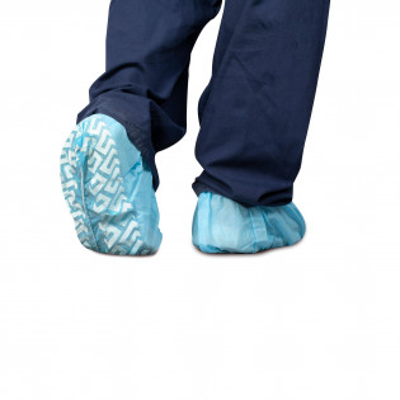 The Dukal Shoe Cover, Non-Skid, Blue, 100/Bag