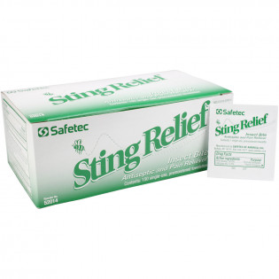 The Safetec Sting Relief Wipes, 150 per box