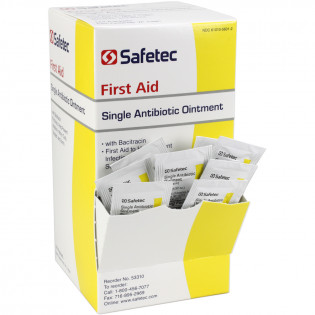 The Safetec Single Antibiotic (Bacitracin) .9gm. Pouch, 144 per box