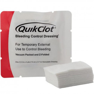 "The QuikClot Bleeding Control Dressing, 3"" x 4yd z-folded"