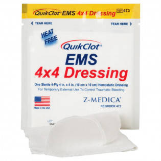 "The QuikClot EMS Dressing, 4"" x 4"" (10 cm x 10 cm)"