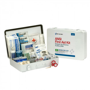 The First Aid Only 50 Person First Aid Kit, ANSI B,  Metal Case, Weatherproof