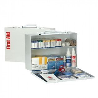 The First Aid Only 2 Shelf First Aid ANSI A+ Metal Cabinet, with Meds