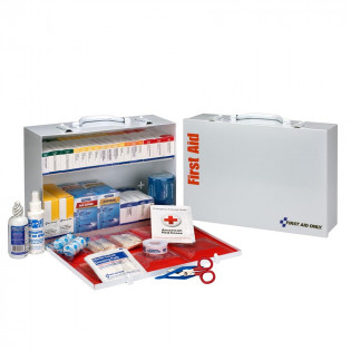 The First Aid Only 2 Shelf First Aid ANSI B+ Metal Cabinet, with Meds