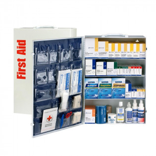 The First Aid Only 4 Shelf First Aid ANSI B+ Metal Cabinet, with Meds