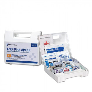 The First Aid Only 25 Person First Aid Kit, ANSI A, Plastic Case with Dividers