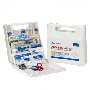 The First Aid Only 50 Person First Aid Kit, ANSI A, Plastic Case with Dividers