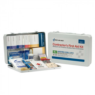 The First Aid Only 50 Person Contractor ANSI B+ First Aid Kit, Metal Case