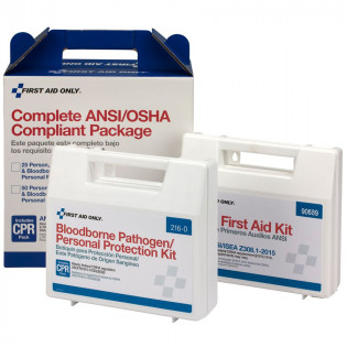 The First Aid Only 50 Person Complete ANSI/OSHA Compliance Package (First Aid and BBP)