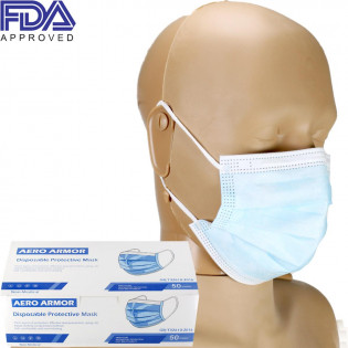 The Disposable Protective Face Mask with Ear Loop, blue, FDA APPROVED, Box of 50