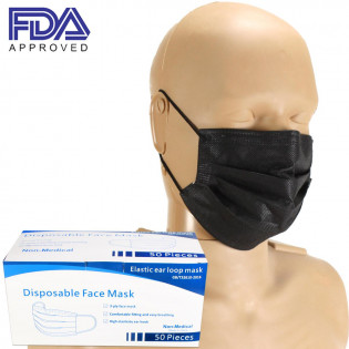 The Face Mask with Ear Loop, FDA APPROVED, Black, Box of 50
