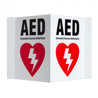 The Defibtech Three-way Wall Sign