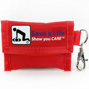 Nylon pouch CPR keychain with key ring and clasp