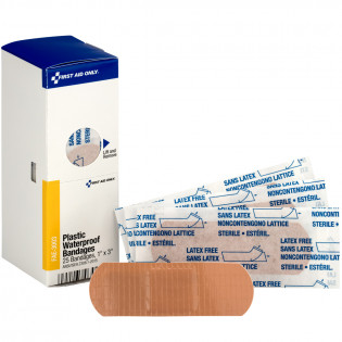 "The 1"" X 3"" Adhesive Plastic Waterproof Bandages, 25 Per Box - SmartTab EzRefill"