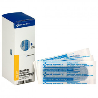 "The 1"" X 3"" Blue Metal Detectable Bandages, 40 Per Box - SmartTab EzRefill"