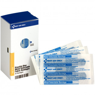 The First Aid Only® Knuckle Visible Blue Metal Detectable Bandages, 20 each - SmartTab EzRefill