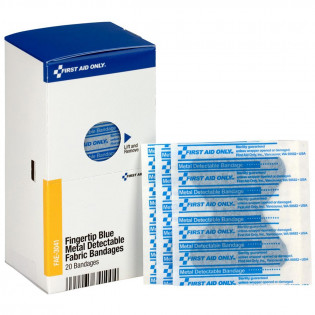 The Fingertip Blue Metal Detectable Bandages, 20 Per Box - SmartTab EzRefill