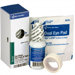 The Eye Care Kit, 1 oz. Eyewash, 2 Oval Eye Pads and Tape Roll - SmartTab EzRefill