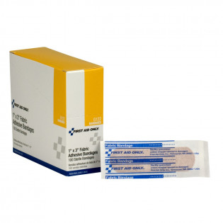 """The First Aid Only® Adhesive Bandage, Fabric 1 x 3"""" - 100 Per Box"""