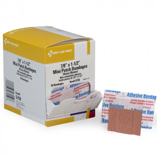 The First Aid Only® Patch Bandage, Heavy Woven Mini - 50 Per Box