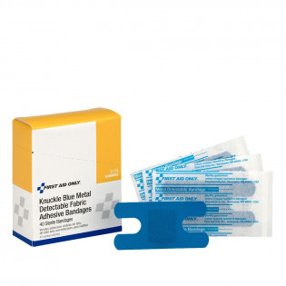 The First Aid Only® Knuckle Bandage, Blue Metal Detectable Woven - 40 Per Box