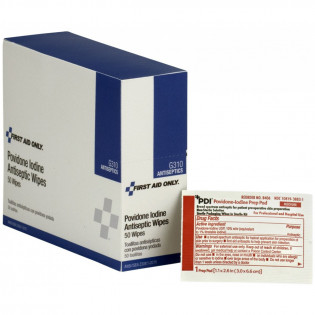 The First Aid Only® Povidone-Iodine Infection Control Wipe - 50 Per Box