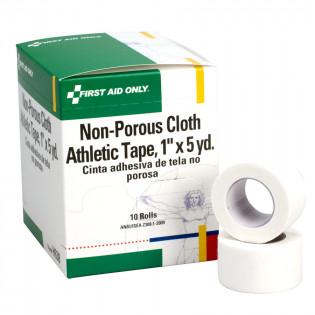 "The First Aid Only® Athletic Tape - Non-Porous Cloth 1"" x 5 yd. - 10 Per Box"