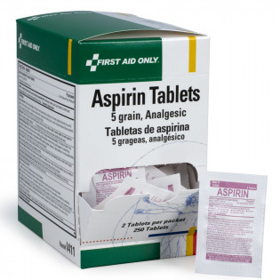 The First Aid Only® Aspirin Tablets - 5 Grain - 250 Per Box