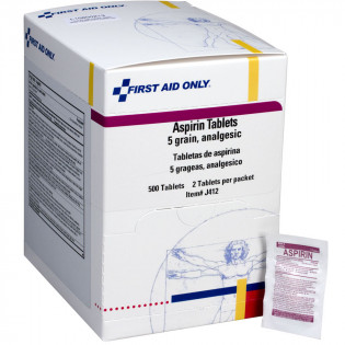 The First Aid Only® Aspirin Tablets - 5 Grain - 500 Per Box