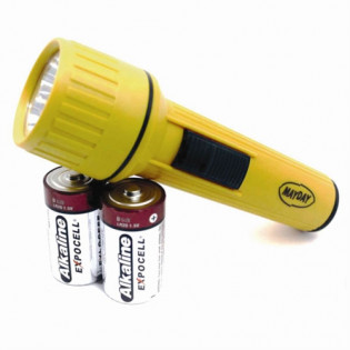 The MayDay Industries Emergency Gear Flashlight Uses D Size Batteries