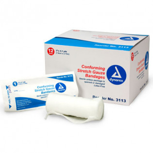 """The First Aid Store™ Conforming Gauze Roll Bandage, Sterile 3"""" - 12 Per Bag"""