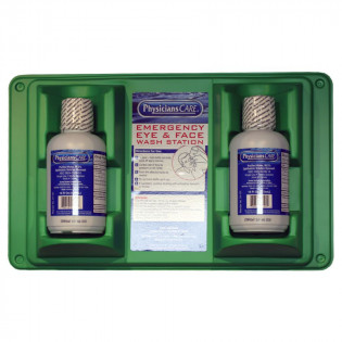 The First Aid Only® Double Eye Wash Station w/ TWO 16 oz. Plastic Bottles