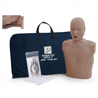 The Prestan™ Adult Jaw Thrust CPR Mannequin w/ Monitor - Dark Skin