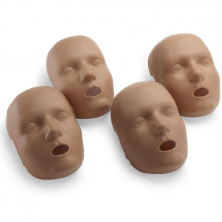The Face skin replacements for the PRESTAN Professional Child Manikin, 4-Pack, Dark Skin