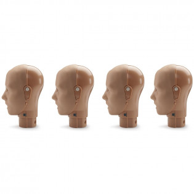 The Jaw Thrust Head Assemblies for the PRESTAN Professional Adult Manikin, 4-Pack, Dark Skin