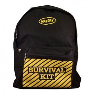 "The MayDay Industries Emergency Gear Black Backpack w/ ""Survival Kit"" Imprint"