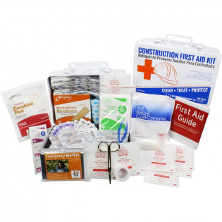 The Bilingual OSHA Contractors First Aid Kit for Job Sites up to 25 People – Gasketed Metal, 180 pieces