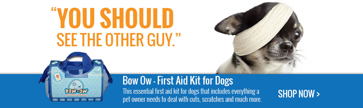 Bow Ow - First aid kit for dogs. The essential first aid kit  for dogs that includes everything a pet owner needs to deal with cuts, scratches and much more!