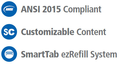 Graphical image displaying 3 bullet points which are titled ANSI 2015 Compliant, Customizable Content, and SmartTab ezRefill System